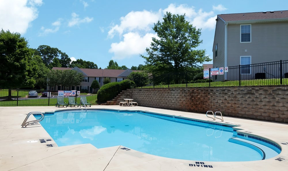 Resort style pool at Turnbridge Apartments in Browns Summit, NC.