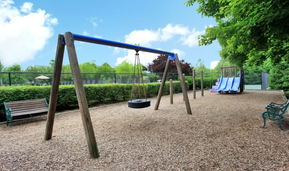 A play ground for the kids at Apartments for rent at Highland Commons in Warrenton, VA.
