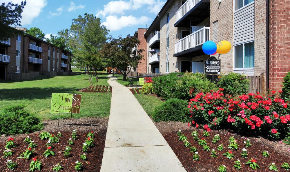 Flowers in bloom at Allentown Apartments in Suitland, MD.