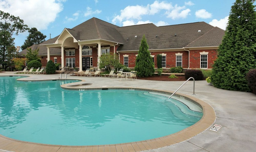 Resort-style Pool and spa at Rocky Creek in Greenville, SC.