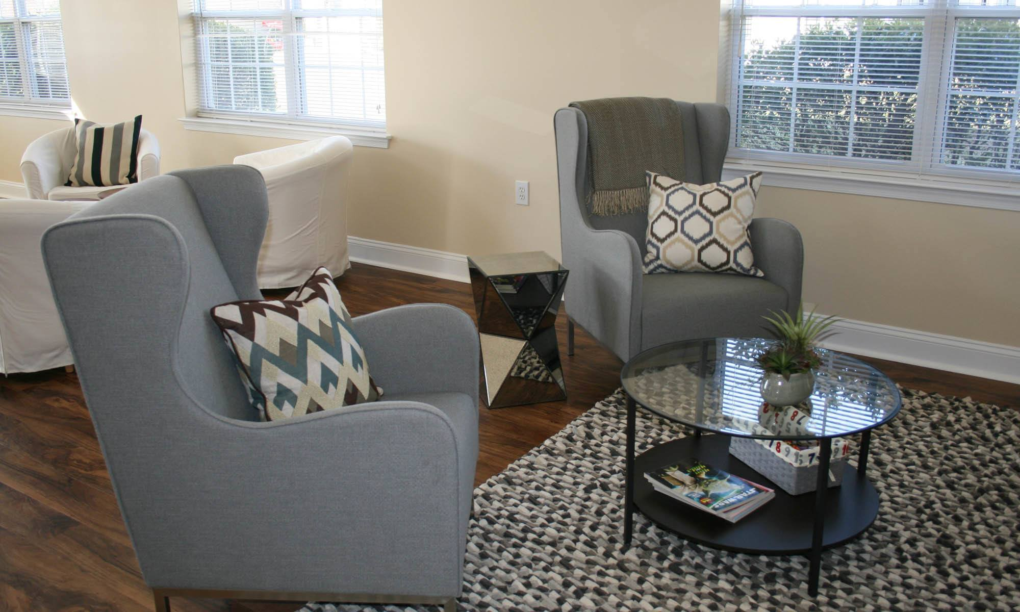 Updated living rooms at Glen Creek Apartments