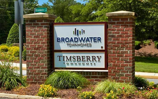 Signage at Broadwater Townhomes in Chester