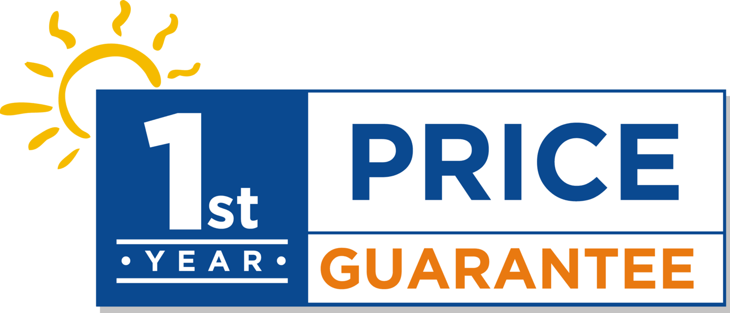 First year price guarantee logo