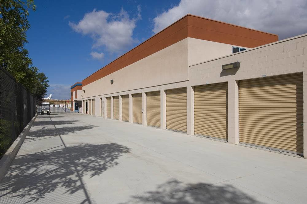 Wide drive aisles at Carlsbad Self Storage in Carlsbad, CA