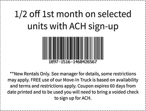 Coupon for Encinitas Self Storage