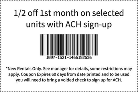 Coupon for North County Self Storage