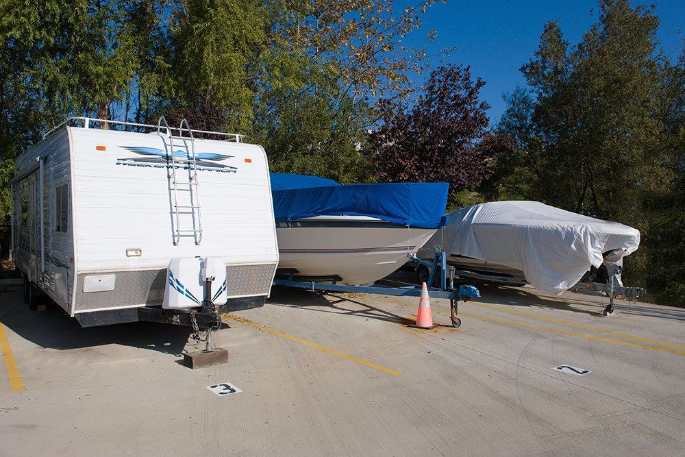 Safe and secure boat storage at Olivenhain Self Storage in Encinitas, CA.