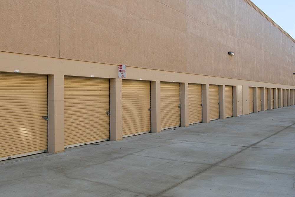 The exterior driveways at Olivenhain Self Storage in Encinitas, CA, are clean and well-lit.