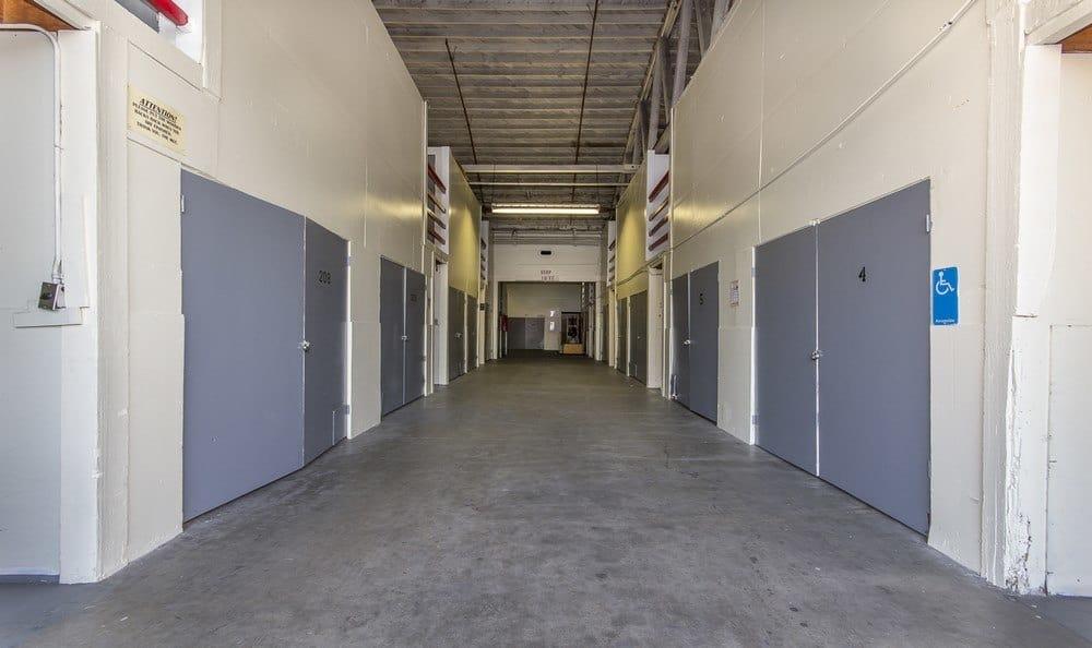 Entrance to storage units at Pasadena MiniStorage