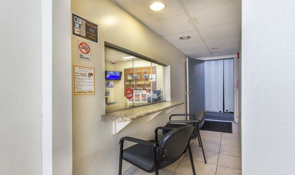 Office area of our self storage facility in Pasadena, CA