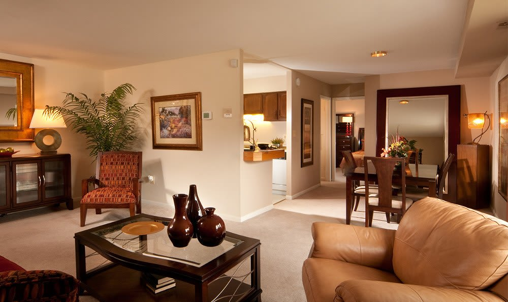 Designer living rooms at Cranbrook Hills Apartments