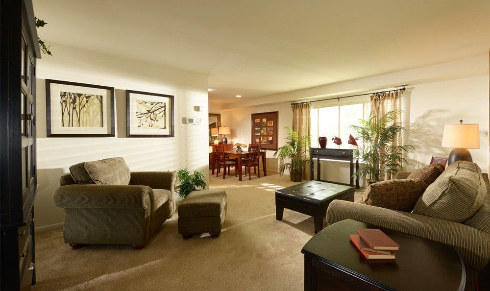 Beautiful living rooms at our Glen Burnie apartment units
