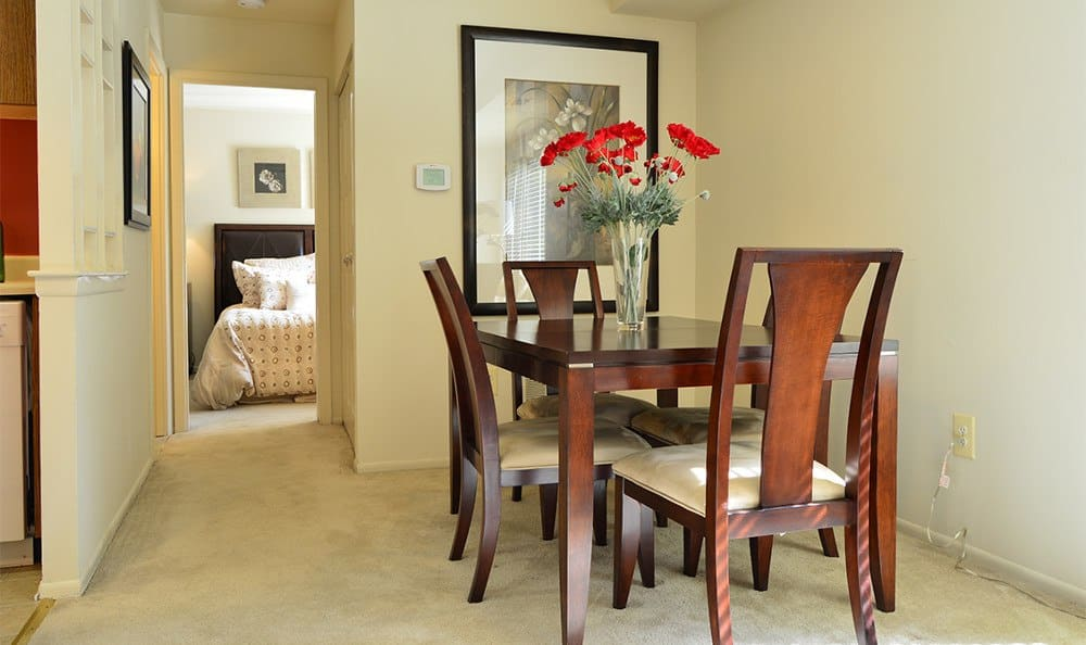 Designer dining rooms here at Windbrooke Apartments