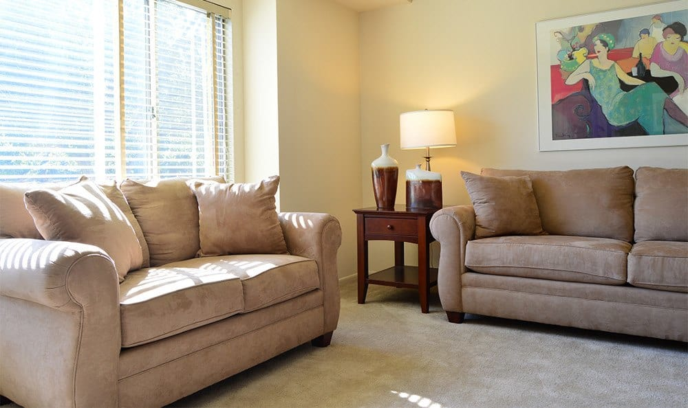 Designer living rooms at our apartments in Glen Burnie