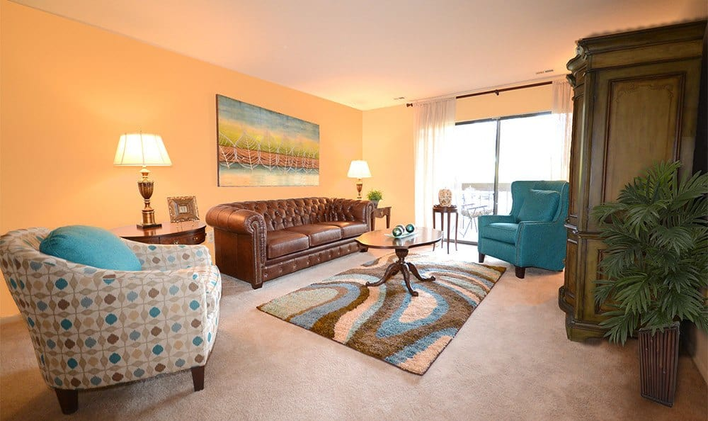Designer living rooms here at Spring Valley Apartments