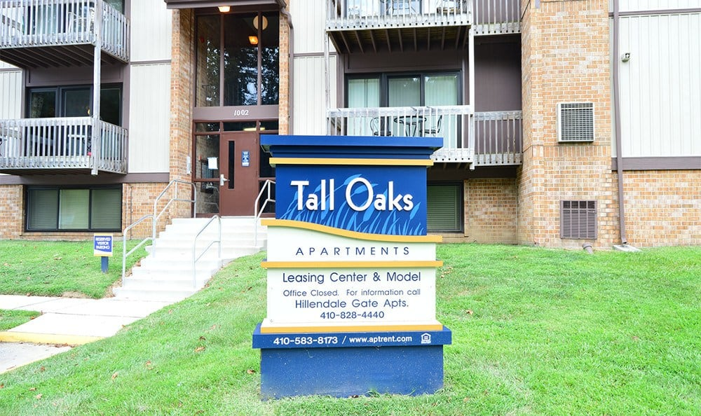 Exterior of apartments for rent in Baltimore, MD