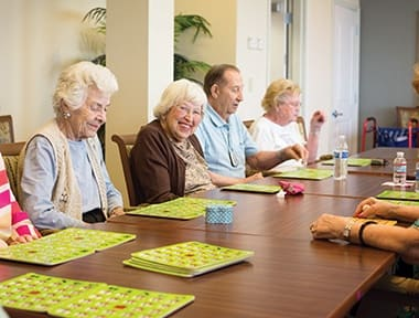 Entertainment activities at senior living community in Lombard, IL