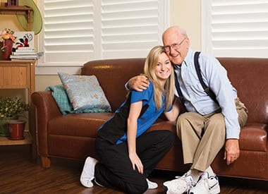 Senior resident with caring nurse at West Chester Assisted Living and Memory Care in West Chester, OH