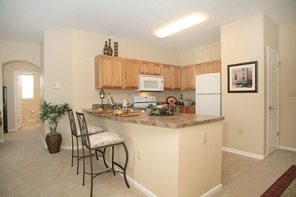 Model kitchen at The Enclave at Round Rock Senior Living in Round Rock, Texas