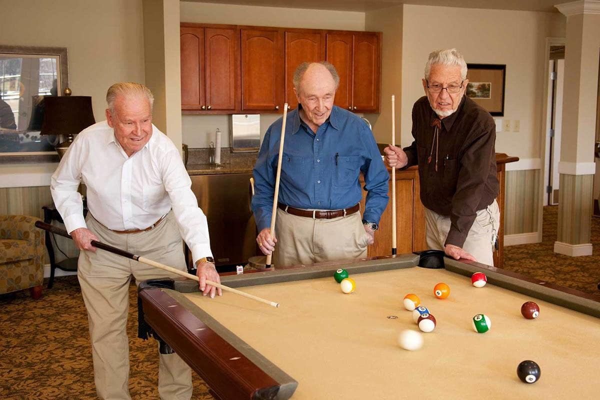 Pool Table At Senior Living In Parker Colorado