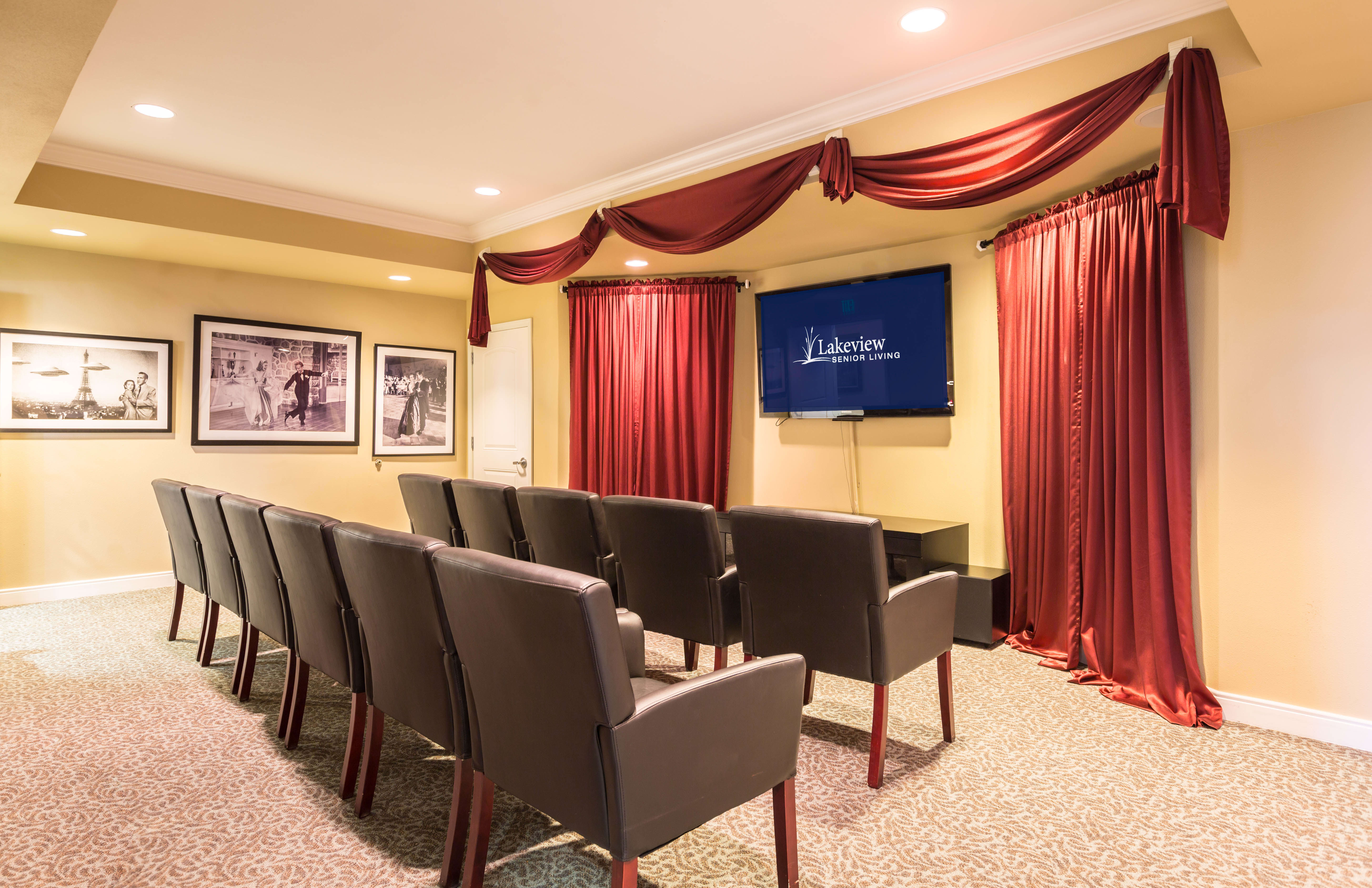 Theater showing movies at Lakeview Senior Living