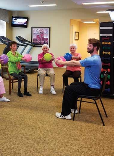 A core strengthening class at Rigden Farm Senior Living