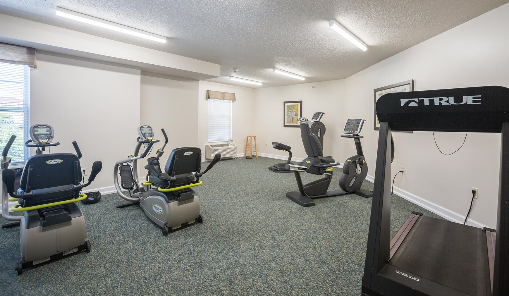 Fitness room at The Homestead at Hickory View Retirement Community