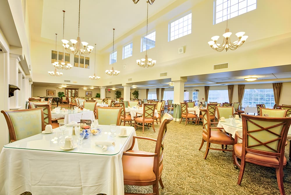 A welcoming dining hall at Park Meadows Senior Living