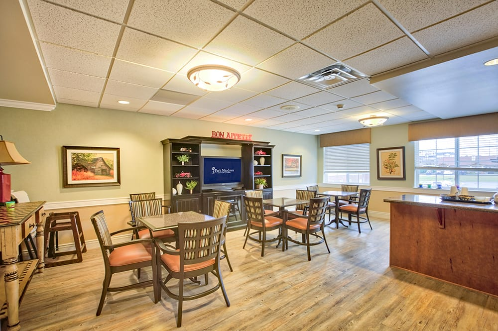 The spacious bistro at Park Meadows Senior Living