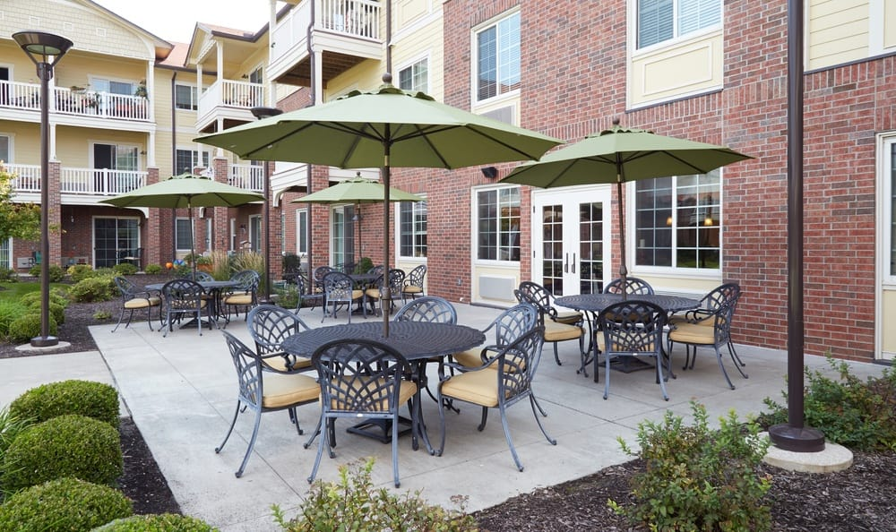 Courtyard at our senior living facility in Overland Park, Kansas