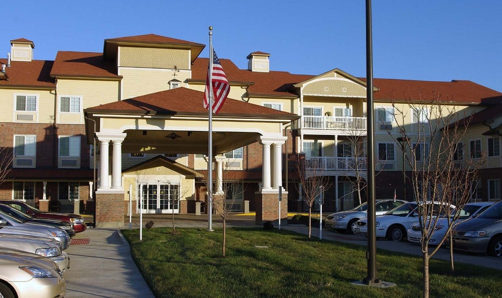 Front of our senior living facility in Overland Park, Kansas