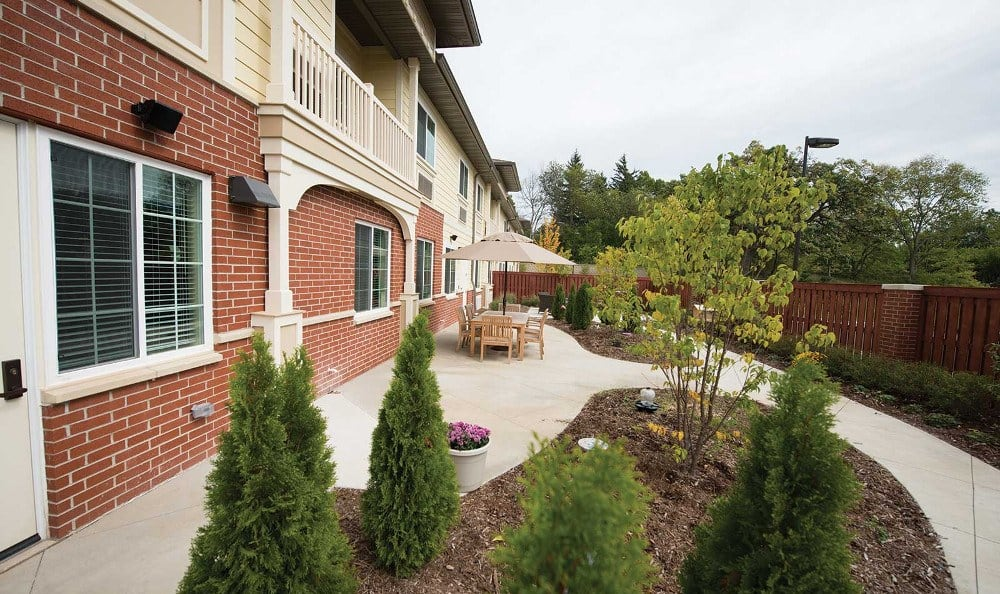 Memory care garden at Three Oaks Assisted Living & Memory Care