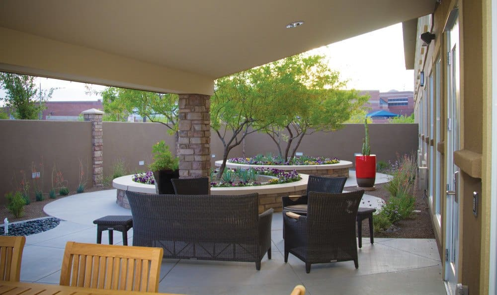 Patio at our senior living facility in Phoenix, AZ