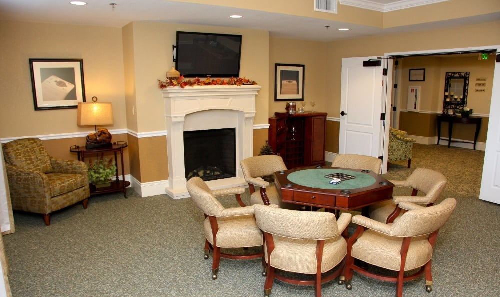 Fireplace lounging at our assisted living facility in Ellisville, MO