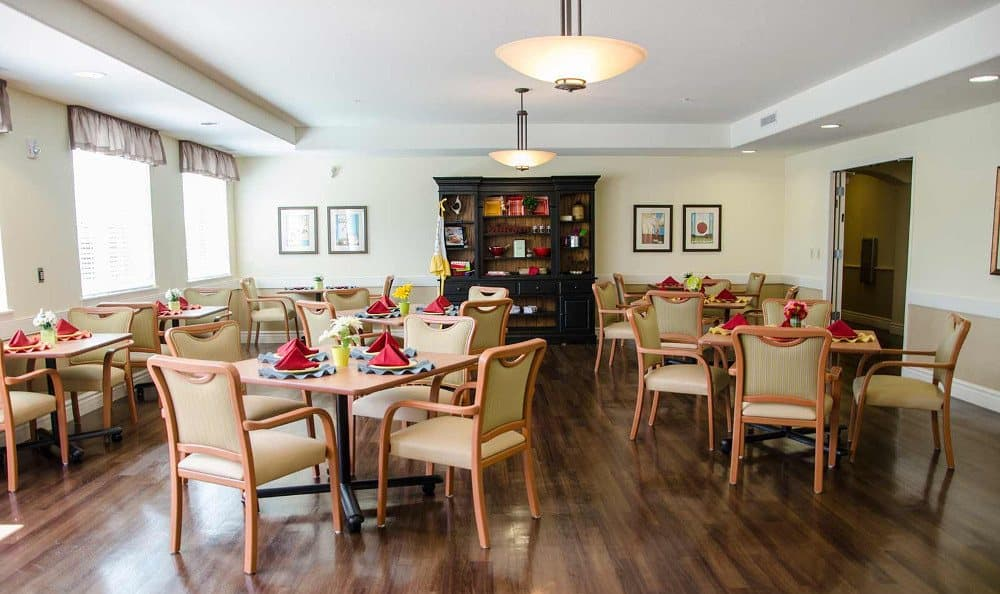 Dining area at our senior living facility in Albuquerque, NM