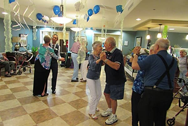 Residents dance and have fun at Palmilla Senior Living