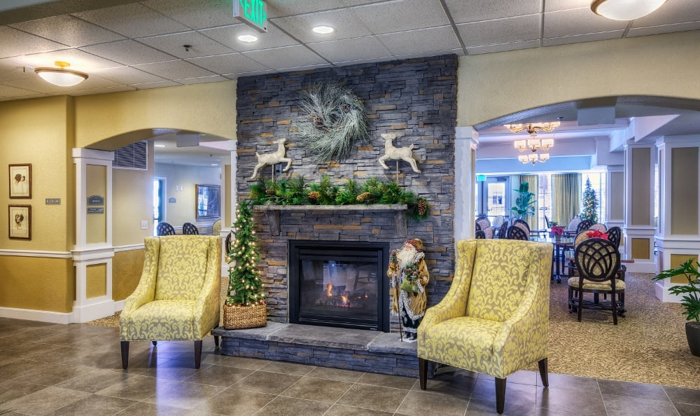 Fireplace at our assisted living facility in Denver, CO