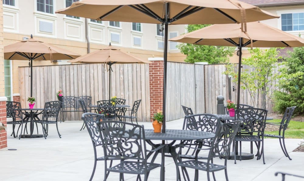 Our Lake Zurich senior living facility has a nice patio