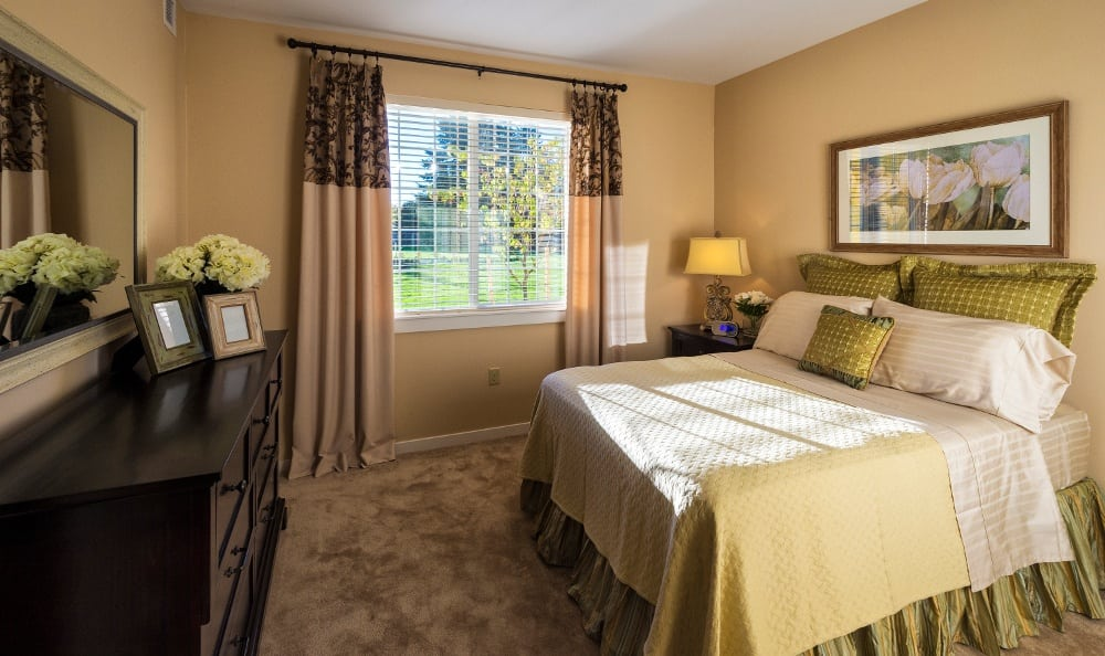 Model bedroom at our senior living facility in Eugene, OR