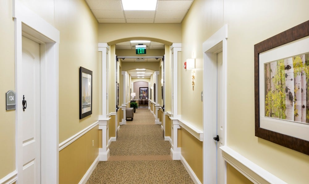 Spacious hallways at our senior living facility in Creve Coeur, MO