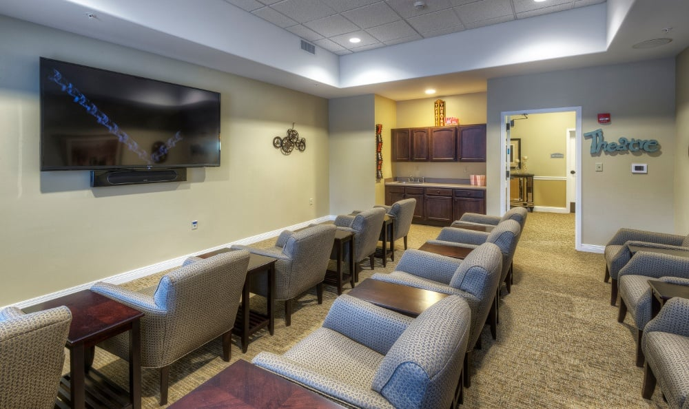 Theater room at our senior living facility in Creve Coeur, MO