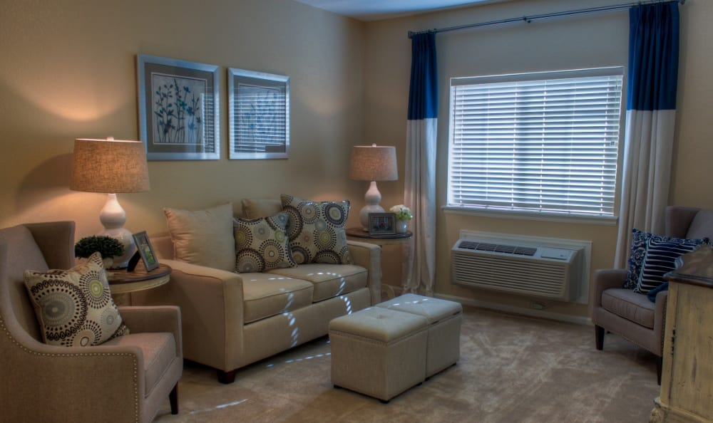 Spacious living rooms at our senior living facility in Centennial, CO