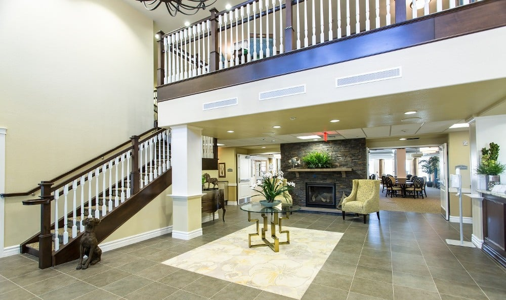 Grand entrance at Gardens at Ocotillo Senior Living in Chandler, AZ