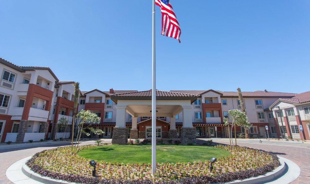 Entrance to Gardens at Ocotillo Senior Living in Chandler, AZ