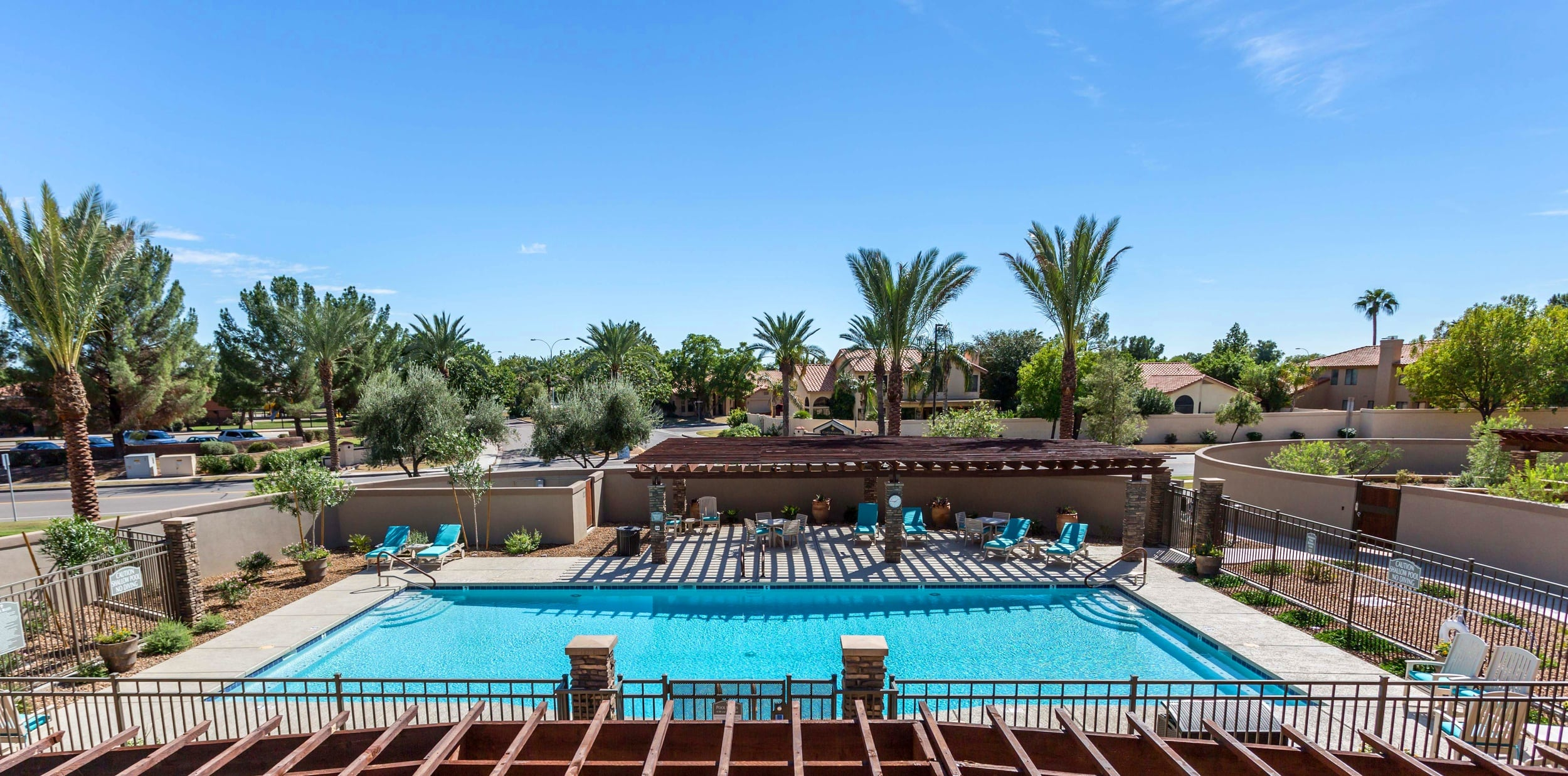Overlooking pool area at Gardens at Ocotillo Senior Living in Chandler, AZ