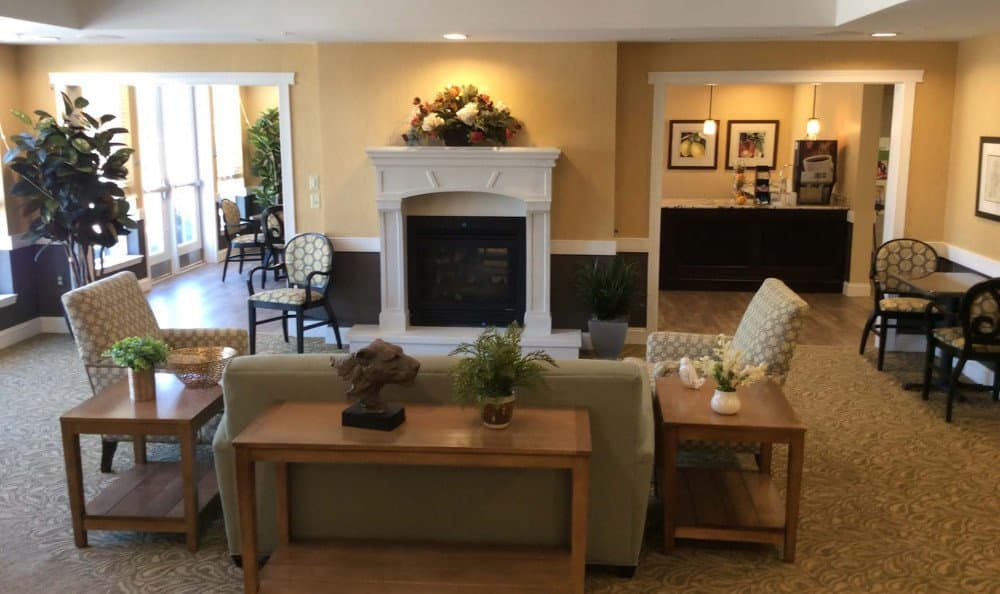 Lounge with fireplace at our Carmel, IN senior living facility