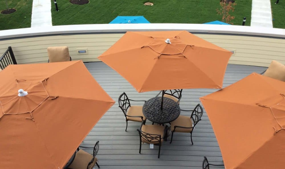 Covered patio at our Carmel, IN senior living facility