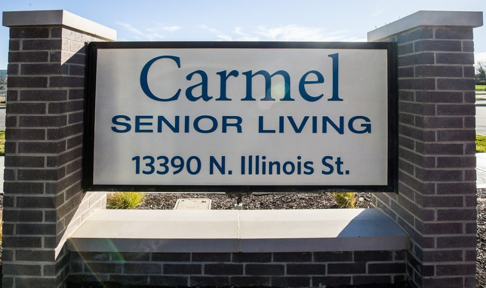 Sign at our senior living facility in Carmel, IN