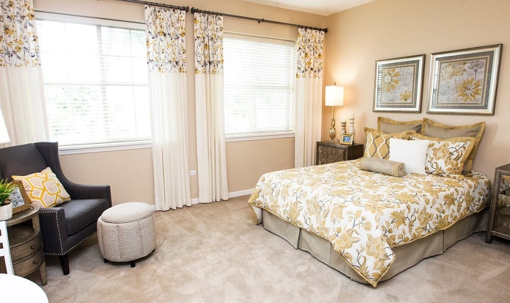 Spacious bedrooms at our Lombard senior living facility