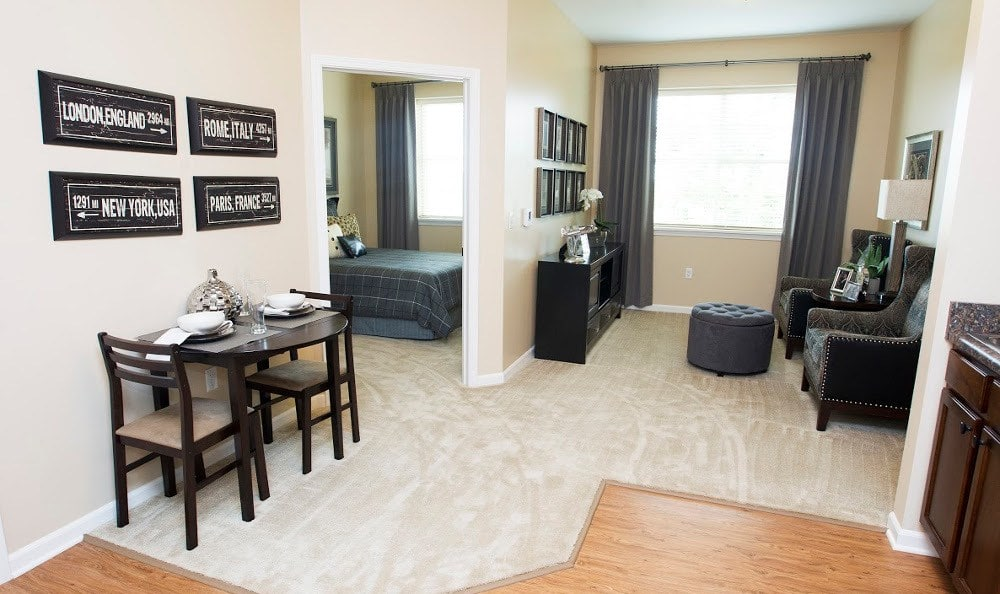 Spacious living rooms at our Lombard senior living facility